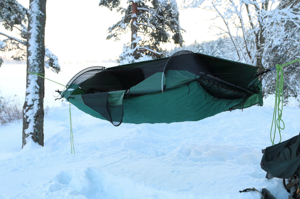 hammock in the snow with an underquilt