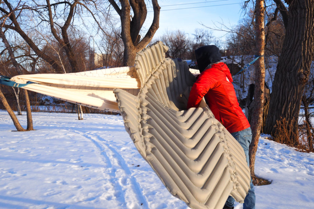 Klymit Hammock V Sleeping Pad hammock insulation to stay warm winter hammock camping