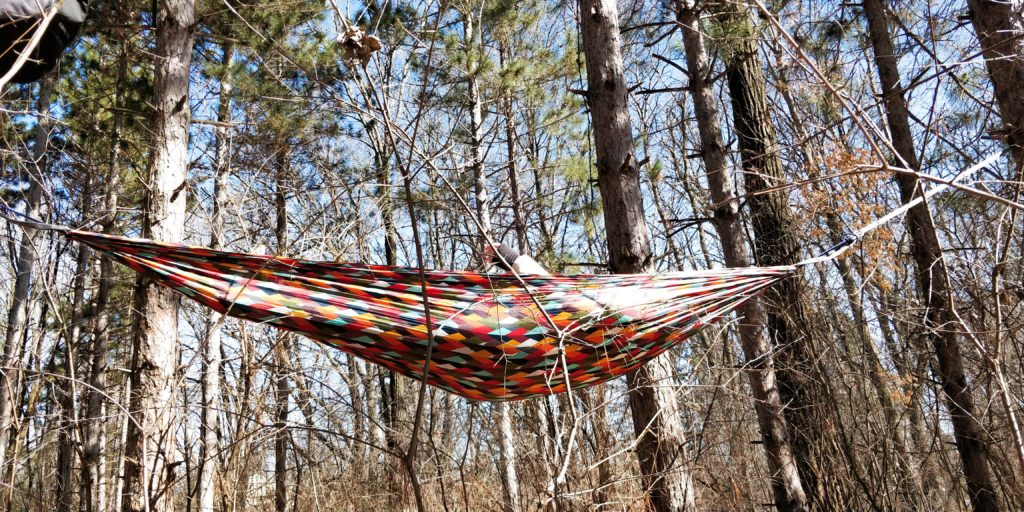 hammock hanging in the woods