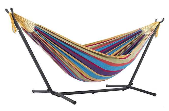 Vivere Hammock stand with a hammock inside