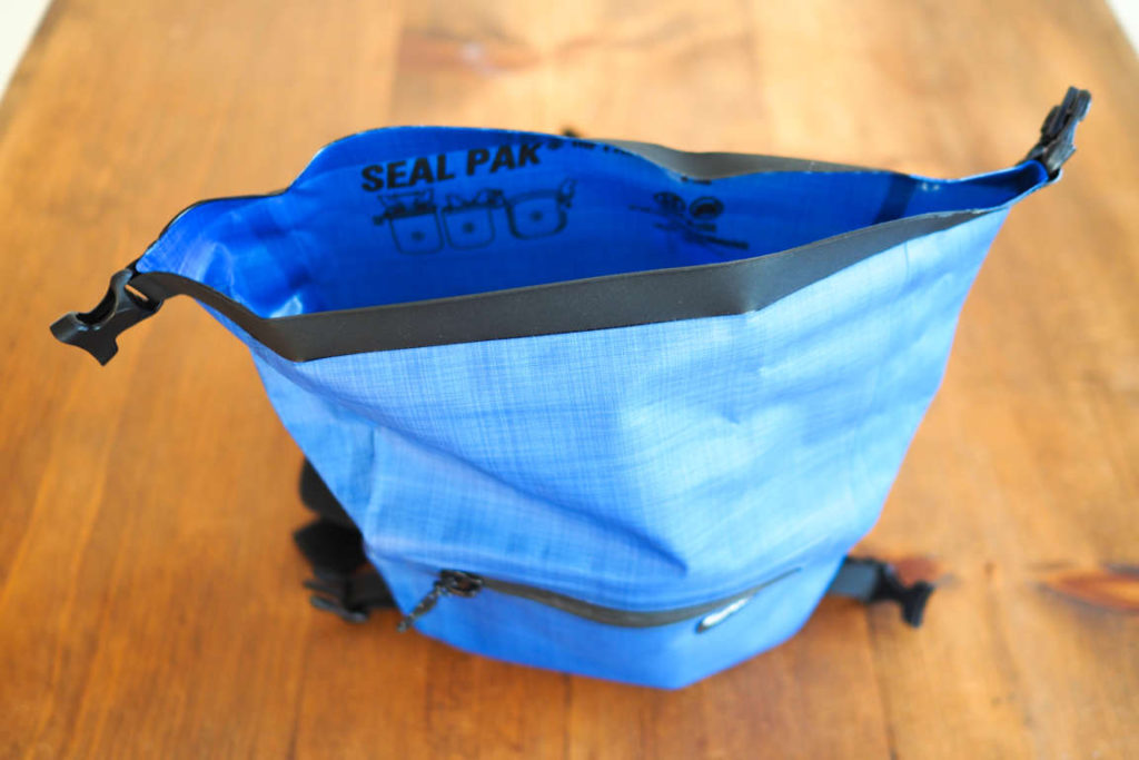 SealLine Seal Pak Hip Pack with lid open